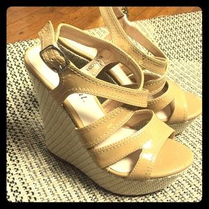 Tan patent leather wedge heels